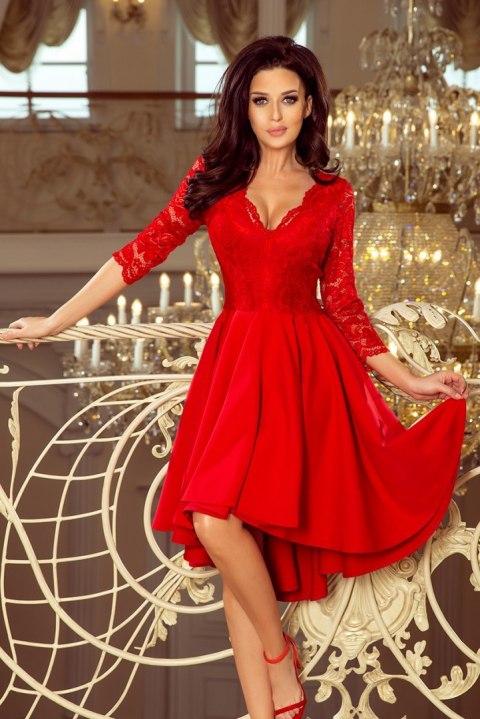 210 6 NICOLLE sukienka z dłuższym tyłem z koronkowym dekoltem CZERWONA